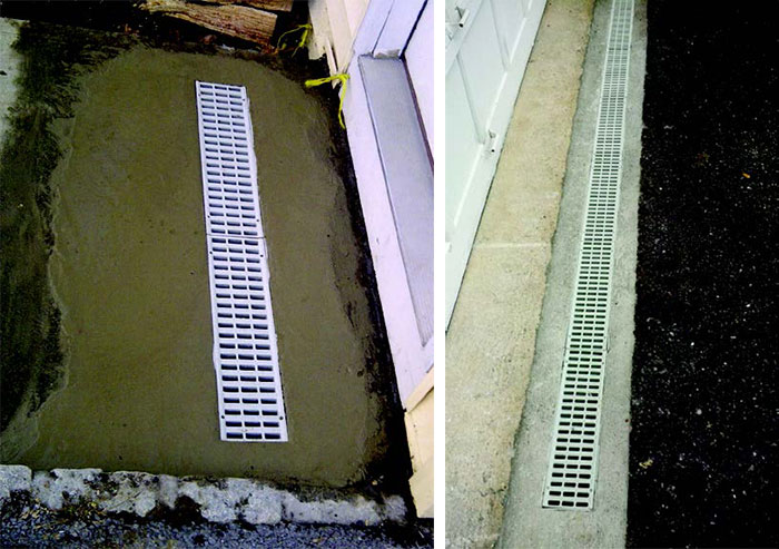 Speedy Drains for driveways, patios and by basement entries.